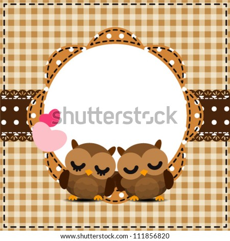 Cute Frames Owls Couple Stock Vector (Royalty Free) 111856820 ...