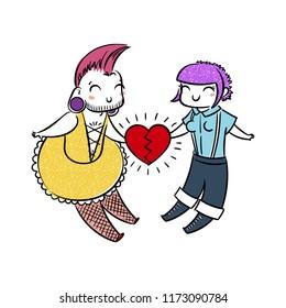 Cute freaks in love. Gender-queer, cross-dressing, punk, goth, skin. Vector illustration for prints, jokes, tags