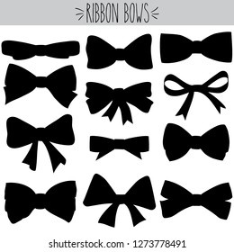 Cute freehand bow doodle, Black silhouette girl hair accessories and  bow tie sketch, Hand drawn fashion elements and Holiday dressing items, Beauty, gift and birthday decorative ribbons shape