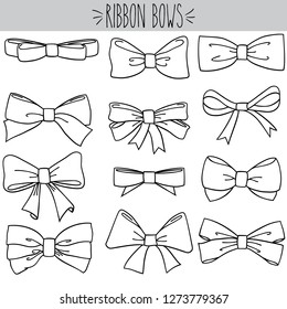 Cute freehand bow doodle, Black outline girl hair accessories and  bow tie sketch, Hand drawn fashion elements and Holiday dressing items, Beauty, gift and birthday decorative ribbons