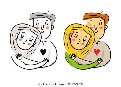 Cute freehand cartoon vector cuddling couple in love, bright St. Valentine's Day characters sketch in monochrome and in color isolated on white