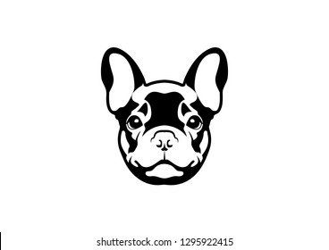 Cute French Bulldog in Black and White Logo Symbol.
