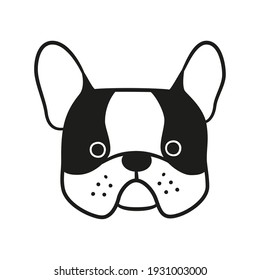 Cute french bulldog face. Dog head icon. Hand drawn isolated vector illustration in doodle style on white background