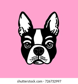 cute french bulldog face vector