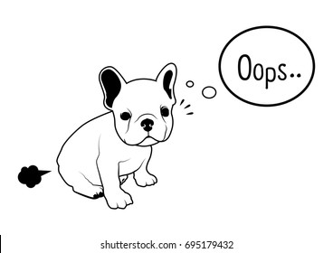 Cute French Bulldog Fart Black & White Logo Vector