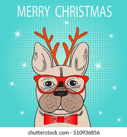 Cute French Bulldog with glasses. Vector Illustration. Christmas holiday greeting card with French Bulldog. Winter greeting card. Merry Christmas! Merry Holidays! Happy New year card. Pop Art style.