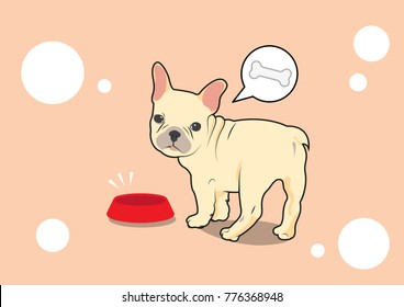 Cute French Bulldog Look Back for Someone and Food