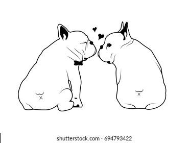 Cute French Bulldog Love Kissing Black & White Logo