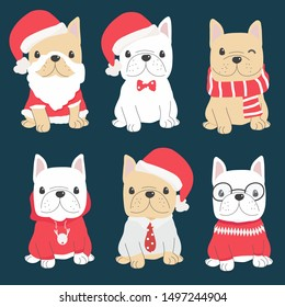 cute french bulldog puppy in christmas costume collection eps10 vectors illustration
