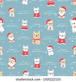 cute french bulldog puppy dog in christmas costume for christmas or new year party seamless pattern snow background
