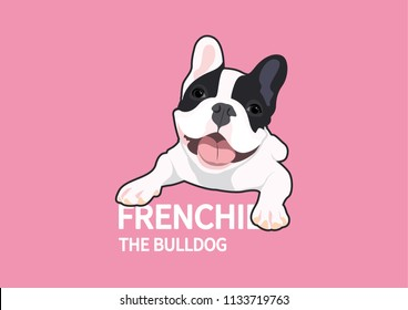 Cute French Bulldog is sitting in front of you. Frenchie The Bulldog collection suitable for your creative works, you can make this to your logo, symbol, design element with doggy style lover.