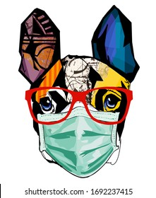 Cute French bulldog with surgical mask - vector illustration (Ideal for printing on fabric or paper, poster or wallpaper, house decoration)