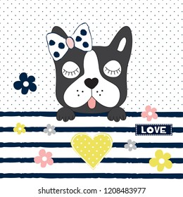 cute french bulldog vector illustration, cute dog with flowers, T-shirt graphics design