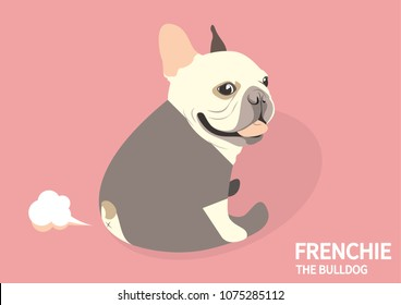 Cute French Bulldog Yoga Fart Style. Cute Frenchie is sitting on the pink floor, exercise with yoga and then just farting!