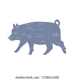 Cute french farmhouse pig butcher chart vector clipart. Hand drawn shabby chic style country farm kitchen. Illustration of farm animal pork livestock ranch graphic. EPS 10.
