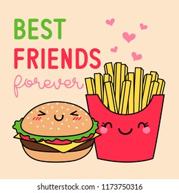 "Cute french fries and hamburger cartoon illustration with text ""Best friends forever"" for greeting card design."