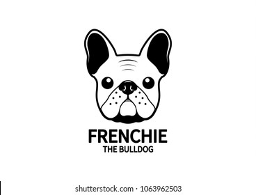 Cute Frenchie The Bulldog Logo. French bulldog logo in minimal black & white  style, it suitable for your product logo or Brand Identity design.