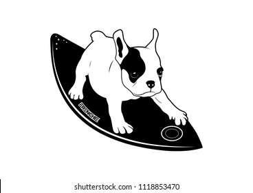 Cute Frenchie and His Surf board. You can bring him and create him on your product or any you want. It's suitable for use as a logo, symbol, signage.