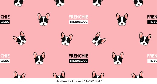 Cute Frenchie Seamless Pattern. This french bulldog on pink background  design suitable for textile, paper,  printing industry. You can make it to your favorite design artworks.