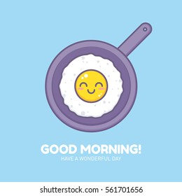 Cute fried omelet on a pan thin lined icon. Sunny side up smiling egg character design with outlines for company business logo or cartoon templates