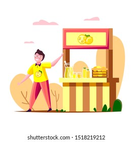 Cute friendly child boy manages his small cold drink stall, inviting customers to his shop taste lemonade. Little business man. Small business development shop start up. Vector flat illustration