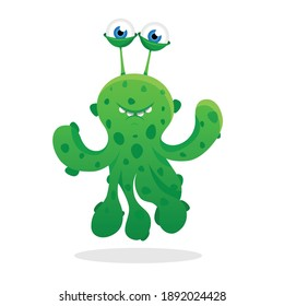 cute, friendly, green monster alien with tentacles in spots smiles. Cartoon style.