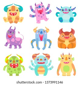 Cute Friendly Monsters with Horns, Friendly Funny Aliens Cartoon Characters Fantastic Creatures Vector Illustration