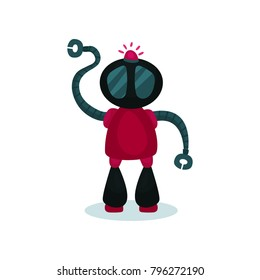 Cute and friendly robot, artificial intelligence cartoon vector Illustration