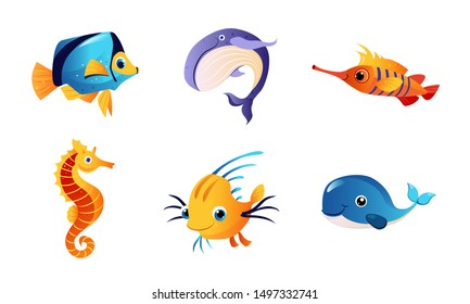 Cute Friendly Sea Creatures Set, Colorful Marine Fishes and Animals Vector Illustration