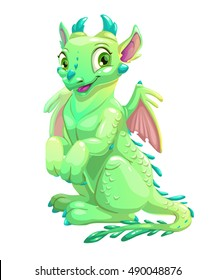 Cute friendly sitting green dragon with little wings and blue horns. Vector fantasy illustration. Isolated on white.