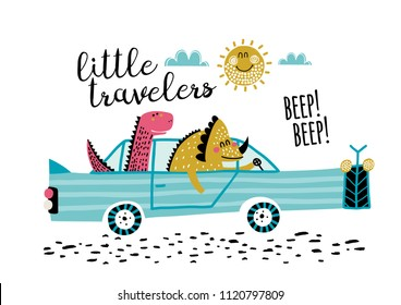 Cute friends dinosaurs with car vector illustration. T-shirt graphics for kids vector illustration. Baby dinosaurs traveling in the car.