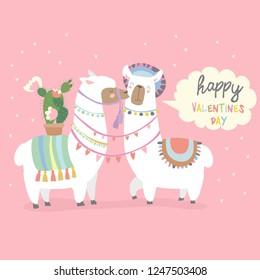 Cute friends mexican white alpaca llamas kissing