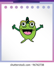 cute frog alien monster - vector illustration