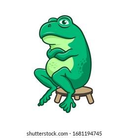 Cute frog cartoon isolated on white background. Frog mascot logo illustration