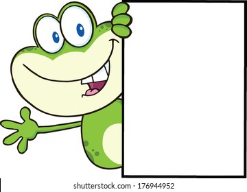 Cute Frog Cartoon Mascot Character Looking Around A Blank Sign And Waving. Vector Illustration Isolated on white