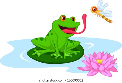 Cute frog catching dragonfly