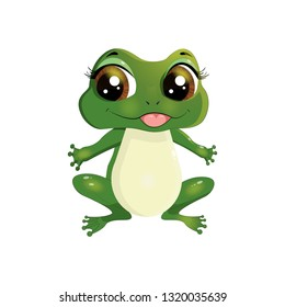 Cute frog character with beautiful shiny eyes on white background