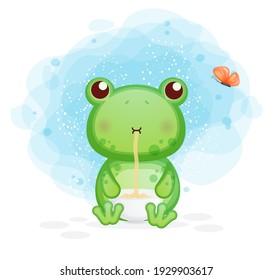 Cute frog eat noodle cartoon illustration. animal food Premium Vector