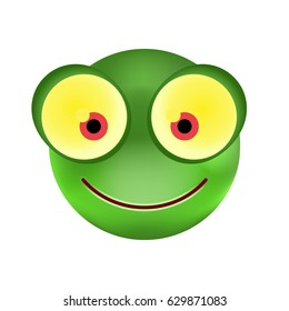 Cute Frog Emoticon on White Background. Isolated Vector Illustration
