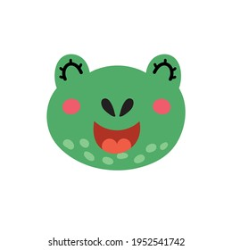 Cute frog face. Funny smiling toad character head. Hand drawn animal in cartoon style for kids and baby design. Vector illustration