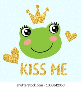 Cute frog with golden glittering crown vector illustration