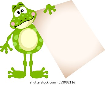 Cute frog holding a blank sign