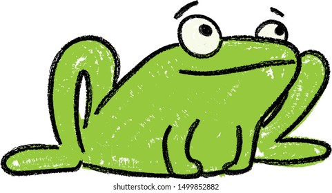 cute frog kids drawing with wax crayon texture,frog doodle clip art very adorable cartoon little frogs