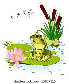 Cute frog with mosquito
