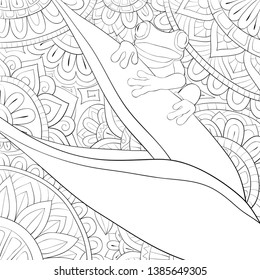 A cute frog on the abstract background image for relaxing activity.Coloring book,page for adults.Zen art style illustration for print.Poster design.