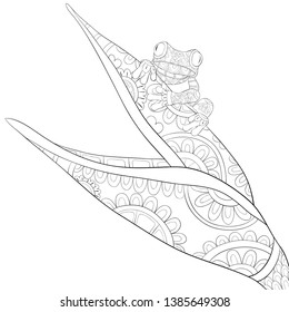 A cute frog on the plant with ornaments image for relaxing activity.Coloring book,page for adults.Zen art style illustration for print.Poster design.