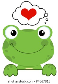 Cute Frog Over A Sign Board And Speech Bubble With Heart
