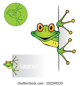 Cute frog peeking - vector illustration