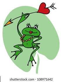 Cute frog princess with an arrow