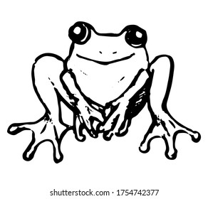 Cute frog, toad, amphibian. Hand drawn vector illustration. Doodle, sketching of wild animals. Black contour drawing isolated on white. Primitive style, single picture for design, print, card, sticker